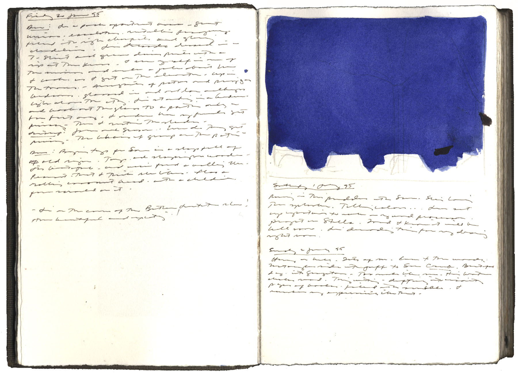 Study for blue twilight, 1 july 1995, watercolor, graphite, and pen and ink on arches paper in bound volume