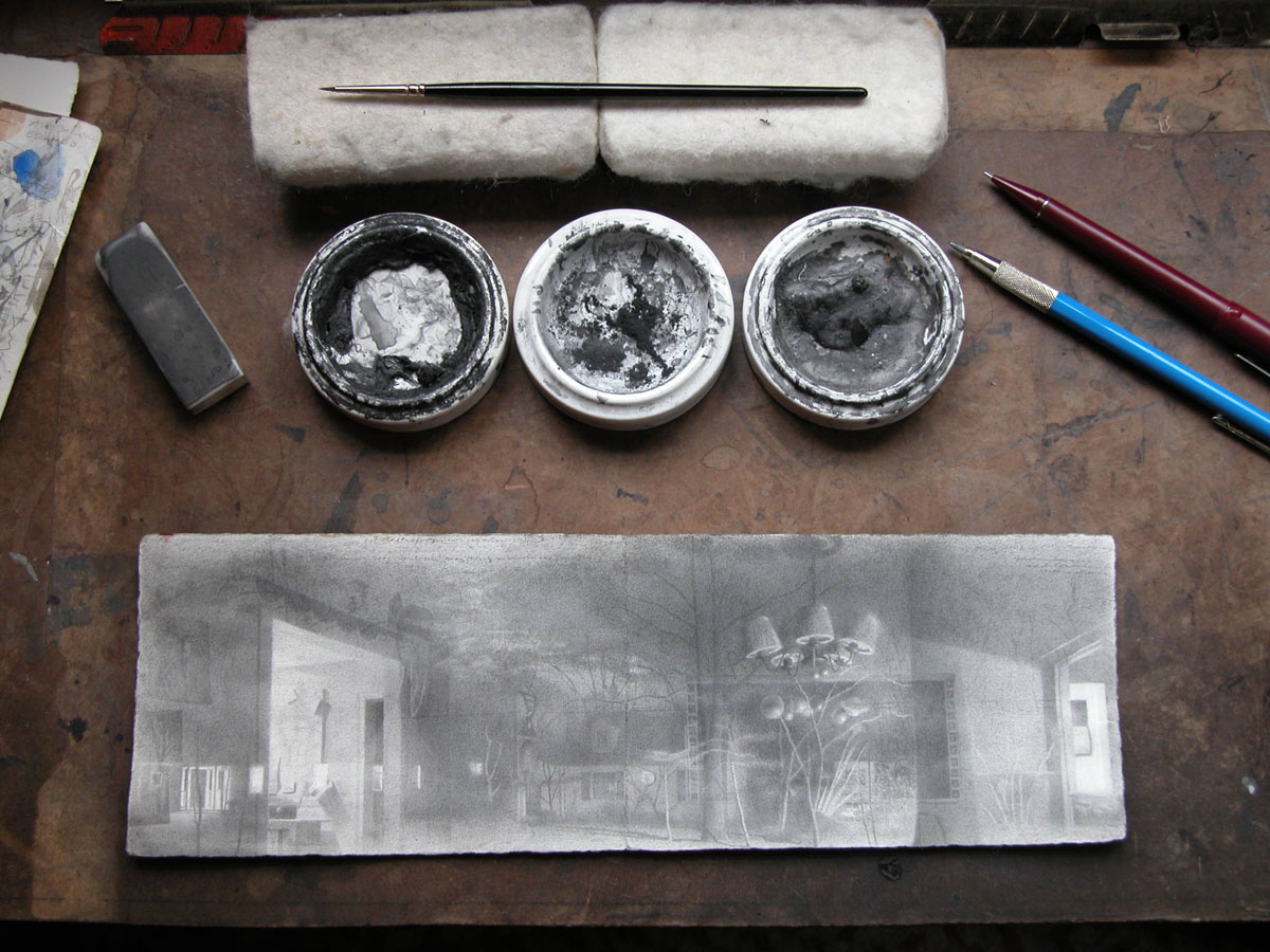 Photograph of worktable with drawing materials 11 march 2...<br/> 						<a href